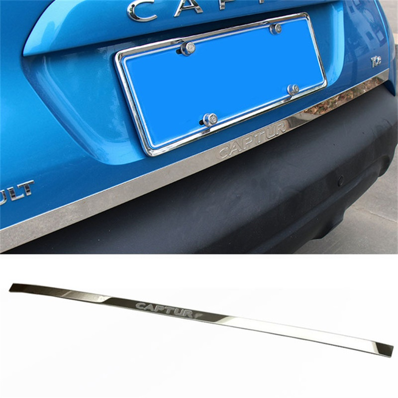 Abaiwai Car Styling For Renault Captur 2015 2016 Stainless Steel Rear Door Bottom Tailgate Frame Plate Trim Rear TRUNK LID Cover car stainless steel rear trunk lid molding cover decoration trims for bmw x5 f15 2014 2015 car styling accessiores