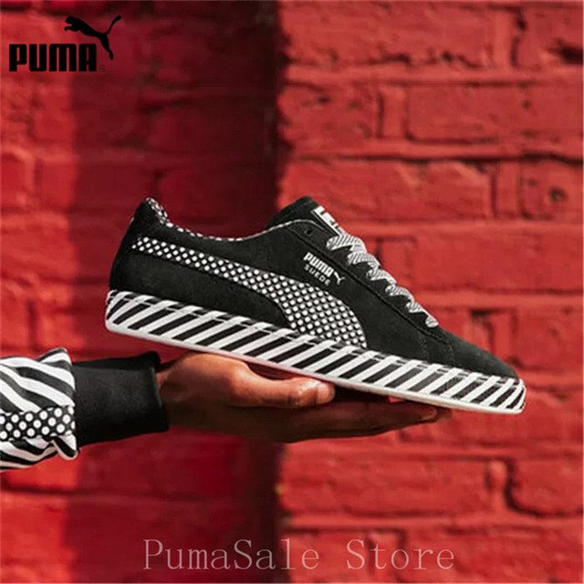 new style 47b1a 6ba90 PUMA Suede Classic Pop Culture 50 Sneakers BTS 367776-02 Men And Women Shoes  Black White Badminton Shoes Size EUR36-44