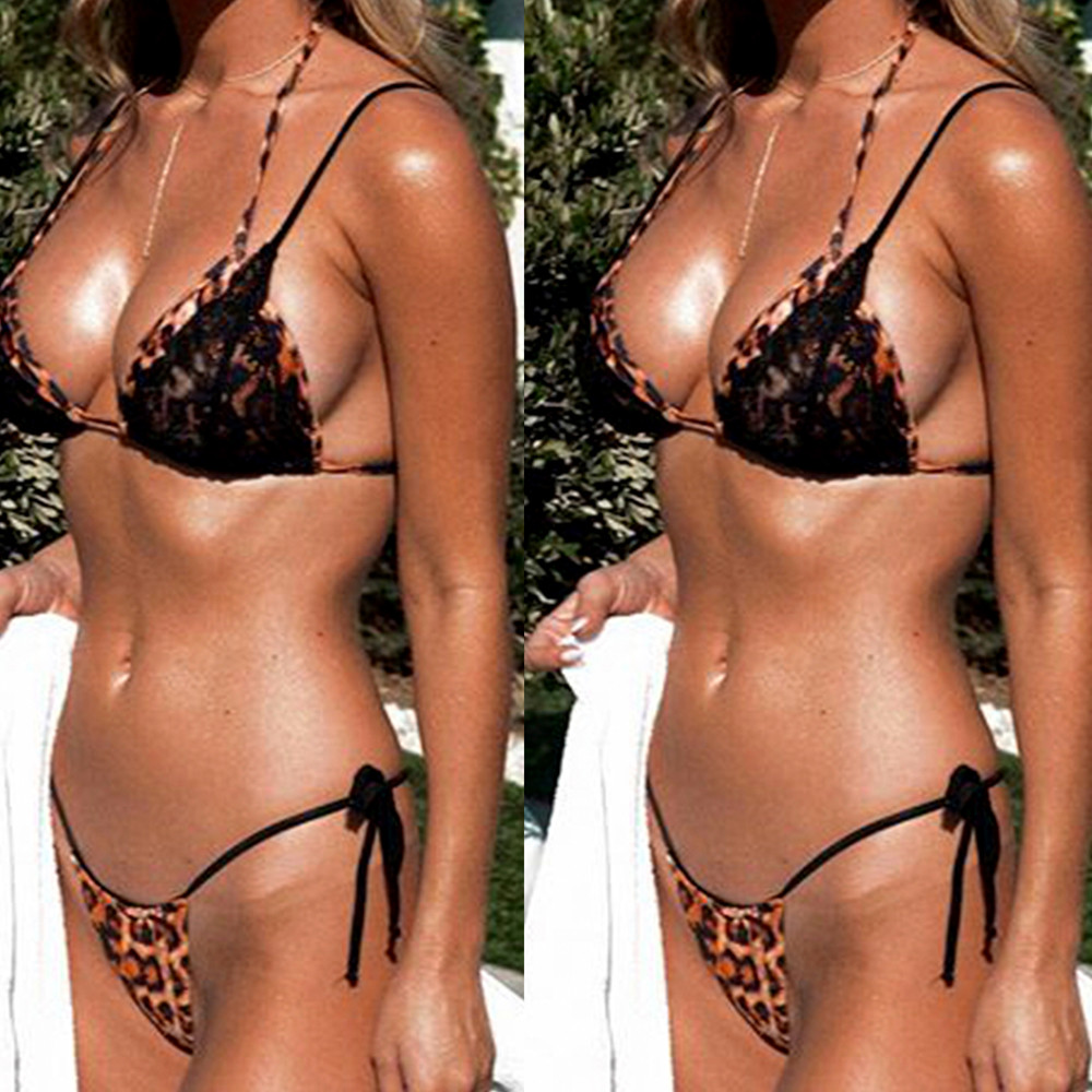 HOT SALE NEW Arrival Sexy Strips Bandage Swim Stitching Printing Swimwear Beachwear Bikini Bathing Suit Swiming #2DQ
