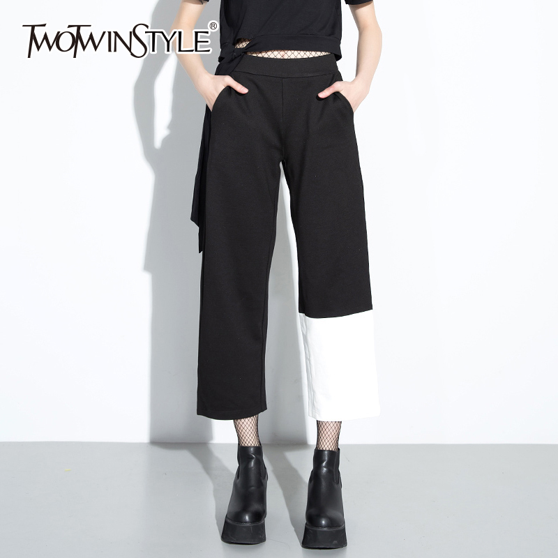 TWOTWINSTLE Asymmetrical   Pants   Female Patchwork High Waist Zipper Long   Wide     Leg     Pants   Women Spring Fashion Harajuku Trousers New