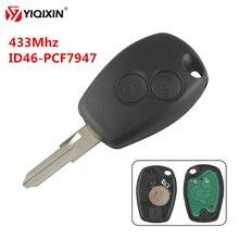 YIQIXIN mando a distancia de coche con 2 botones Chip ID46 PCF7947, para protector antipolvo para Renault, Clio, DACIA, Logan, Sandero con cuchilla VAC102, 433Mhz