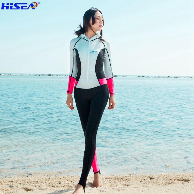 Hisea 0.5mm Dámské oblečení Rashguard Plavky Plavky Surfování Jednodílné elastické obleky Triatlonové obleky