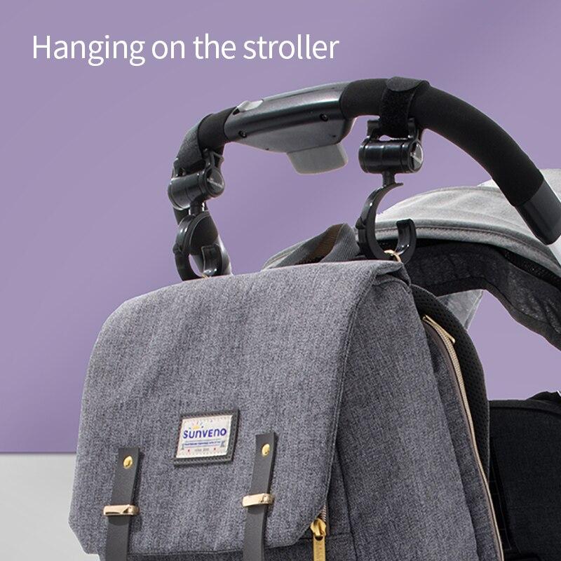 SUNVENO nouveau sac à couches mode sac à dos grande capacité bébé sac Nappy sac pour les soins de bébé - 3