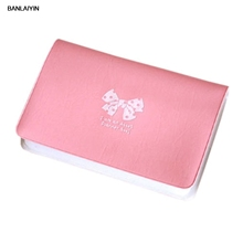 WholeTide10pcs*Women Cute Bowknot Id Credit Card Bag Holder Case (Pink)