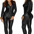 2016 Mulheres de Couro Discotecas Preto Padrão de pele de Cobra Sexy Ternos Do Corpo para o Pólo de Dança Roupas Collant Bodysuit Catsuit Clubwear