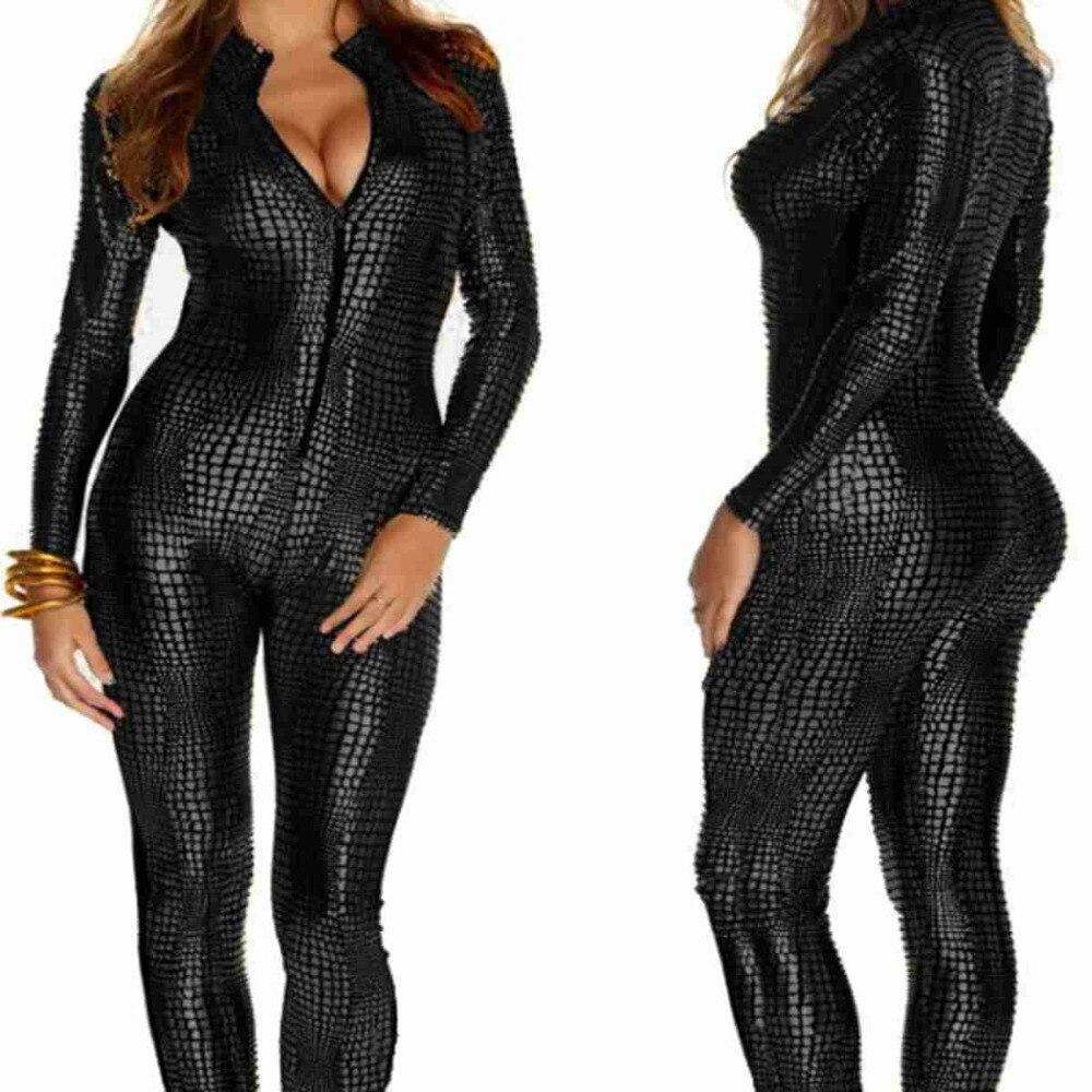 ✓2018 mujeres clubes sexy de cuero negro Monos para ropa de baile ...
