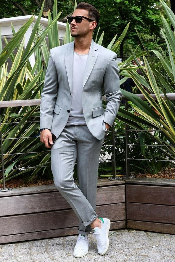 Latest Coat Pant Designs Light Grey Casual Custom Wedding Suits For Men Groom Beach Notched