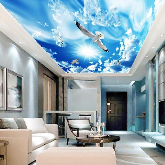 Custom photo wallpaper 3D Living room bedroom restaurant ceiling lamp pool background wall blue sky background wallpaper mural custom ceiling wallpaper blue sky and white clouds murals for the living room apartment ceiling background wall vinyl wallpaper