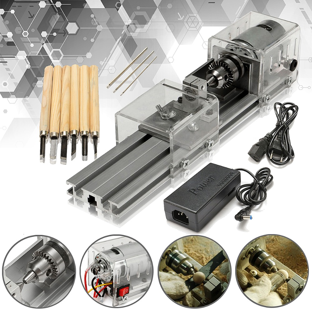 ALLSOME LB-01 Mini Lathe Beads Machine Wood Working DIY Lathe Cutting Polishing Polisher Drill Rotary Tool DC 24V HT1728 china wood working mini cnc lathe is900