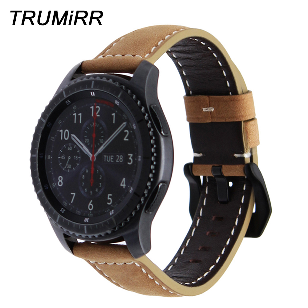 22mm Quick Release Genuine Leather Watchband for Samsung Gear S3 Classic Frontier Watch Band Vintage Wrist Strap Bracelet Brown 22mm quick release genuine leather watchband for samsung gear s3 classic frontier watch band vintage wrist strap bracelet brown