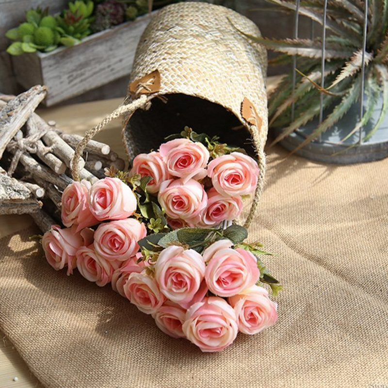 1PCS silk hearts rose bouquet wedding hand hold flower bouquet European style home party hotel party shop window decoration