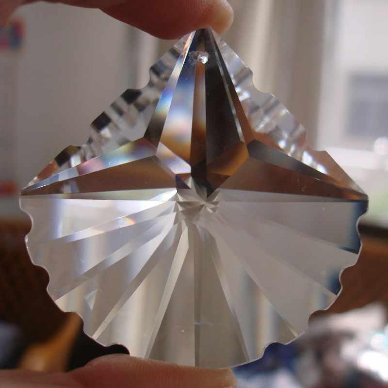 10 шт./лот 38 мм блеск много граненые хрустальные люстры Призмы висит Стекло вентилятор В виде ракушки Suncatchers для люстра лампа + бесплатная кольца