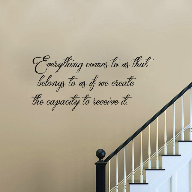 Everything Comes To Us Wall Sticker Text Art Black Home Decor Vinyl Self  Adhesive Stair Wall
