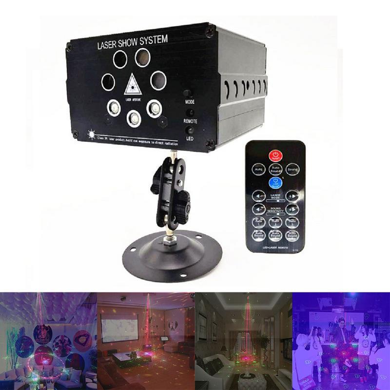 7 trou 120 Modèles Commande Vocale RGB Laser Projecteur Lumière DJ Disco Party Bar Musique Laser Éclairage de Scène Effet LED lumières de noël
