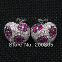 Vintage Heart 12mm Solid 18kt White Gold Diamonds Pink Ruby Earrings E150A