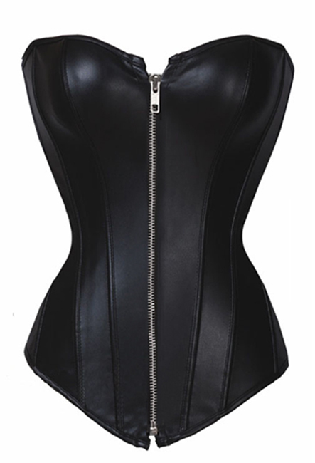 MOONIGHT Black Plastic Bonded Faux Leather Overbust Zipper Sexy   Corset   Top   Corsets   And   Bustiers   Overbust   Corset   Plus Size S-6Xl