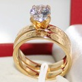 Simulated Diamond Prong Setting Stainless Steel Yellow Gold Plated Wedding Ring Sets Couple Band Rings For Men And Women