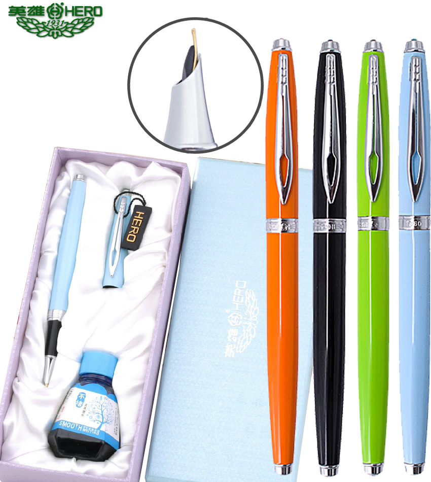 Fountain pen  + Blue-black Ink bottle + gift box HERO 1360  pens set Office and school The best gift sets  Free  Shipping 550 554 model pen bamboo pen fountain sets gift for christmas new year wedding gift pen