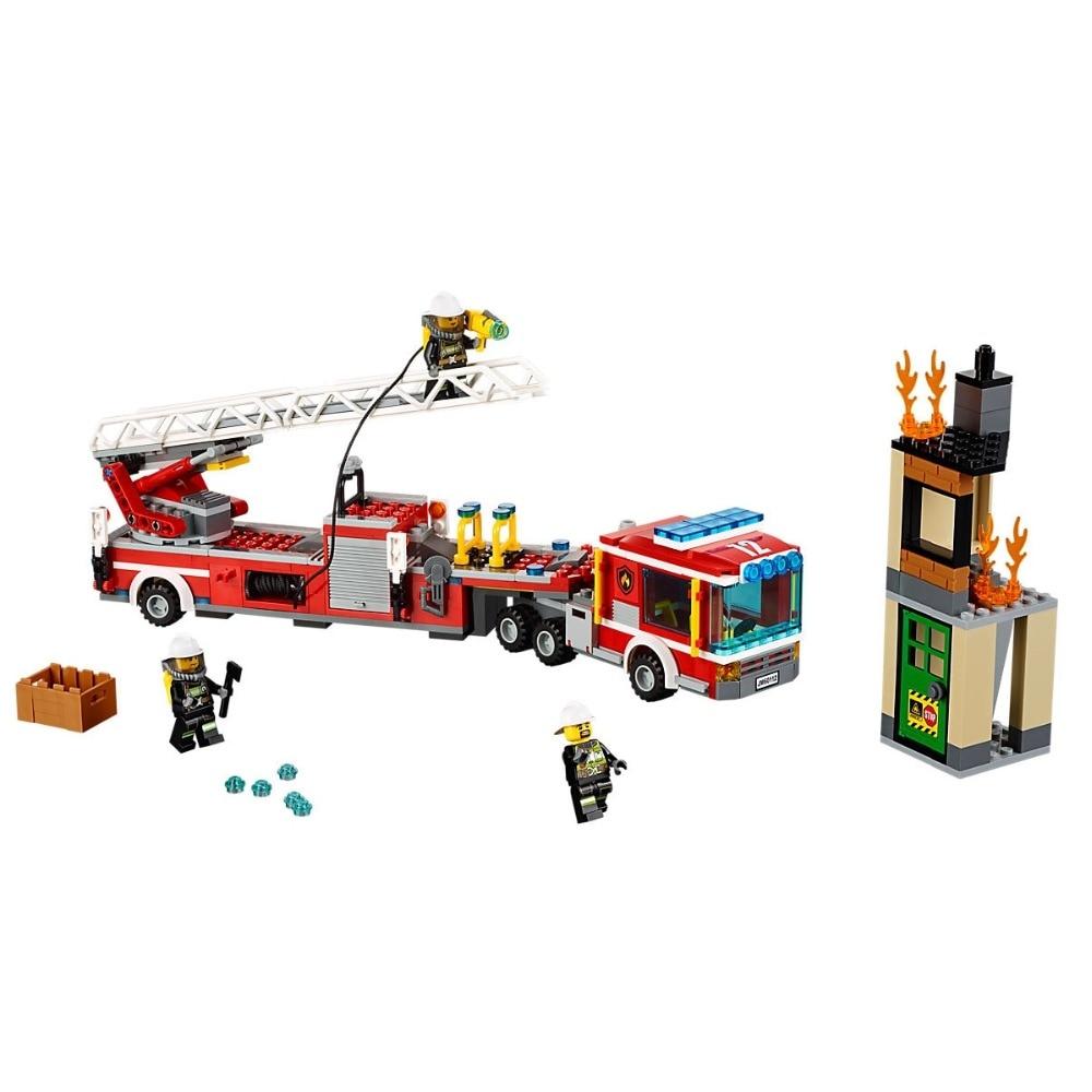 Fire Engine Compatible Legoe City Fire 60112 Building Blocks Bricks Car Model toys for Childrens kid gift 421Pcs