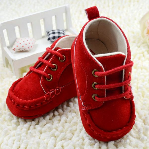 Baby Boy Girl Cotton Prewalker Crib Shoes Soft Sole Lace Sneaker Boots 0-18M