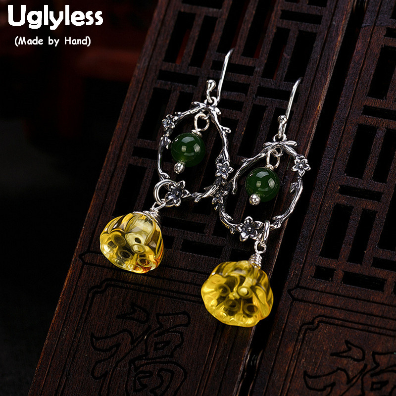 все цены на Uglyless Real 925 Sterling Silver Lotus Earrings Exotic Amber Dangle Earrings Natural Jasper Fine Jewelry Engraved Flower Bijoux