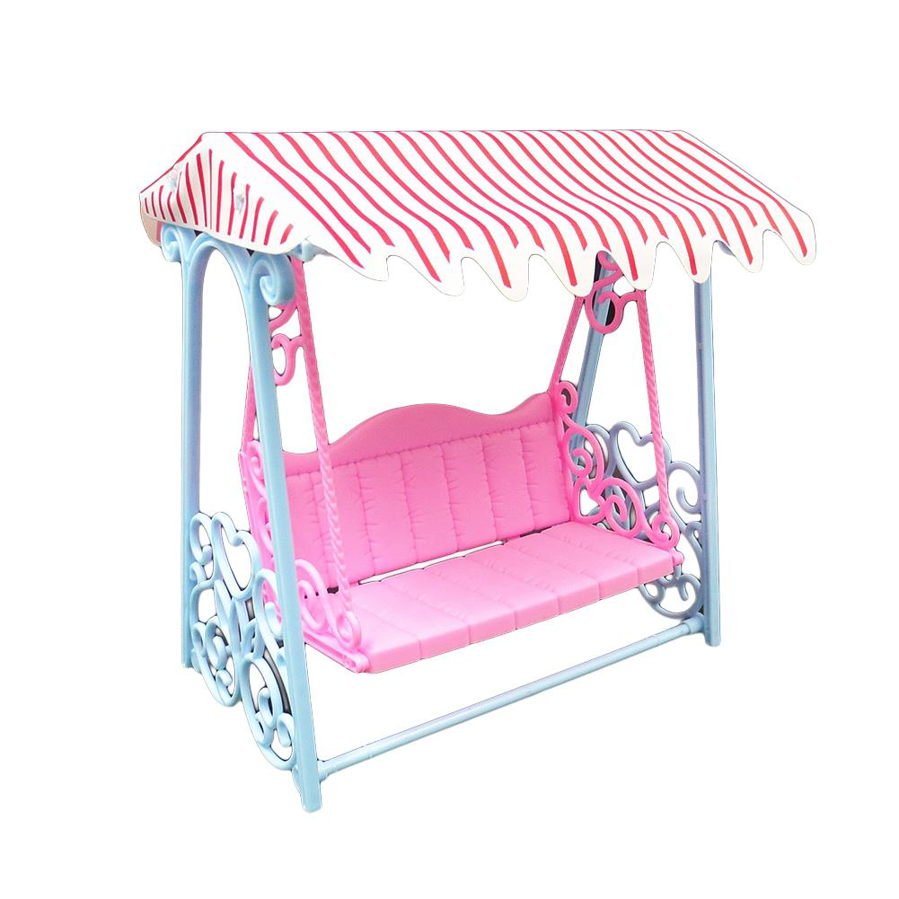 Home None Cute Simulate Garden Beach Swing With Luxury Canopy For Doll Play-house Game Kids Toy Gift Decoration Zk30 Bright In Colour
