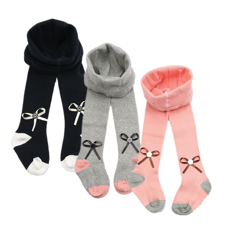 V-TREE New Infant Baby Girls Kids Tights Bow Cotton Cute Long Stockings Toddler Girls Tights warm Spring Autumn 0-5 Year cute baby kids girls cotton fox tights носки штаны штаны чулочно носочные изделия колготки