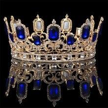خمر الباروك الأزرق كريستال كبيرة التيجان و التيجان الزفاف الشعر مجوهرات حلية ملكة الملك الزفاف مجوهرات اكسسوارات