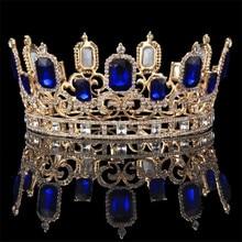 Vintage Barocco di Cristallo Blu Grande Diademi e Corone Da Sposa Monili Dei Capelli di Nozze Ornamento Queen Re Monili di Cerimonia Nuziale Accessori