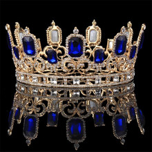 Vintage Barock Blau Kristall Große Diademe und Kronen Braut Hochzeit Haar Schmuck Ornament Königin König Hochzeit Schmuck Zubehör