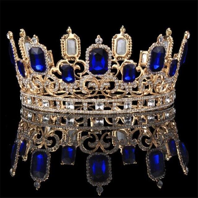 Vintage barroco azul cristal grande Tiaras y coronas boda joyería de pelo de Reina rey boda accesorios de la joyería
