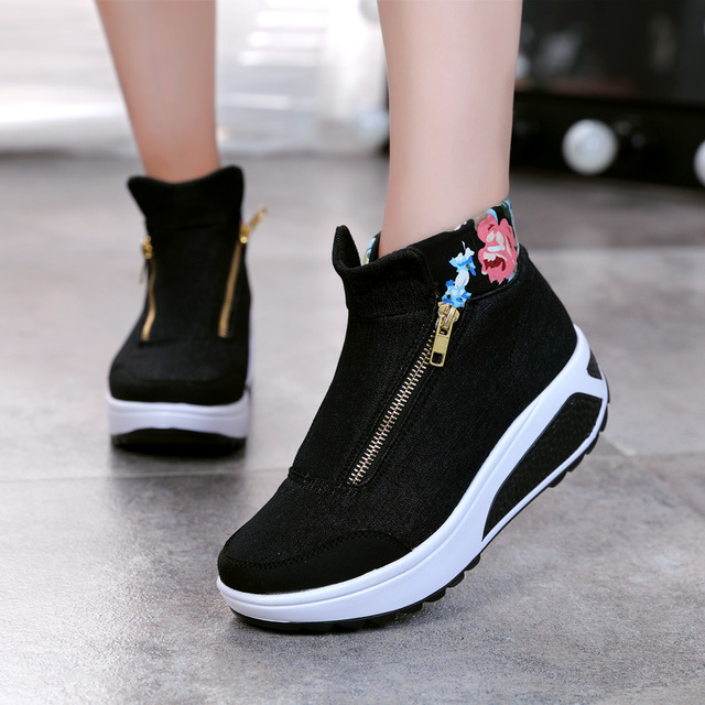 New 2016 Autumn Women Shoes Canvas shoes High-top Casual Print Fashion Platform Swing Shoes Ankle Fashion Boots