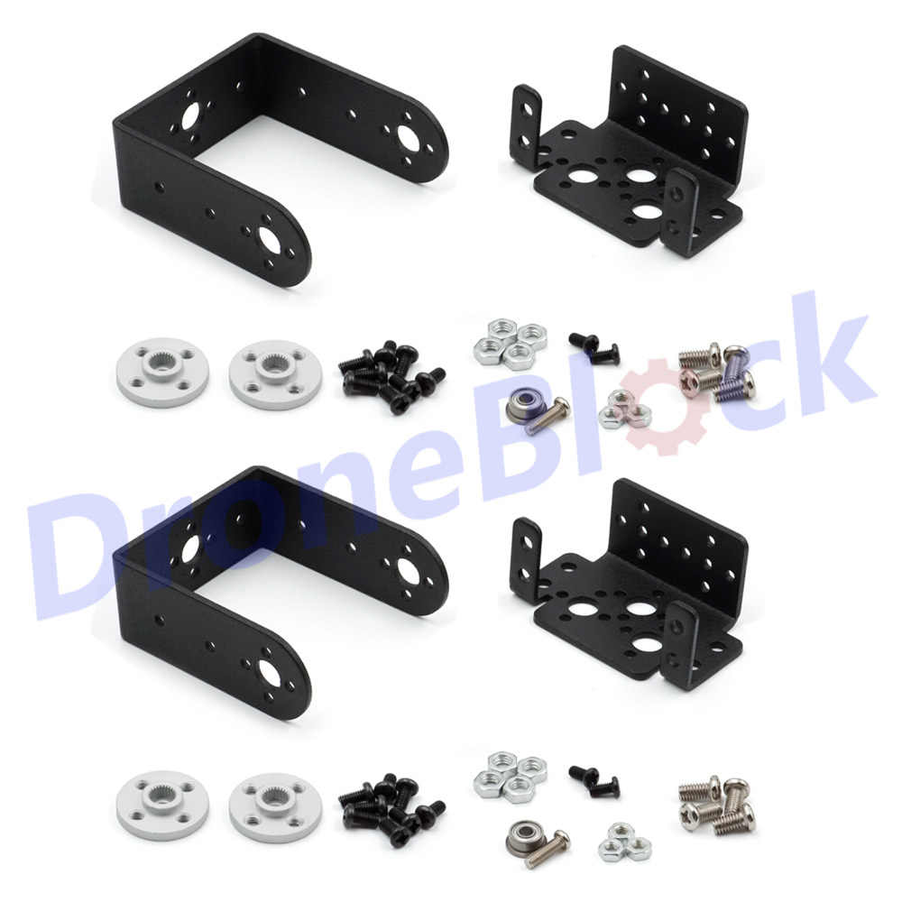 2 Set MG995 MG996R Steering Gear Pan dan Tilt Mount Mekanik 2 DOF Robot Servo Mount Set Bracket Sensor Mount kit Mobil Perahu RC
