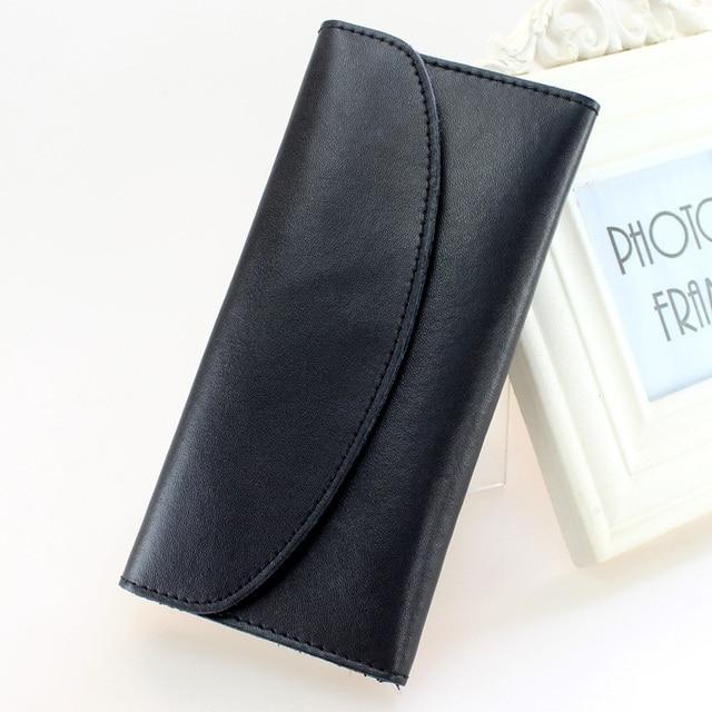 2017 Nuevo de Las Mujeres de Dinero Clip de piel de vaca Negro de Cuero 3 veces Para El Dinero Con Retención De Tarjeta Simple Mujer Monederos Envío libre
