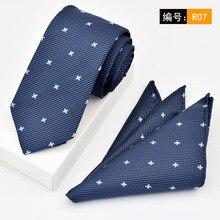 Brand 6cm Skinny Neck Tie Set New Mens Wedding Pocket Square Blue Ties For Men Neckties Cravate