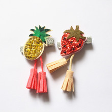 Girls Novelty Fruits Strawberry Shape Headwear Cute Kids Glitter Hair Clips 2pcs Children Resale Lovely Catoon Barrettes Prince