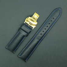 Fit Shark Sport Watch moda correa de la venda de la venda de reloj accesorios 20 mm negro con el azul línea de hilo de oro de la promoción