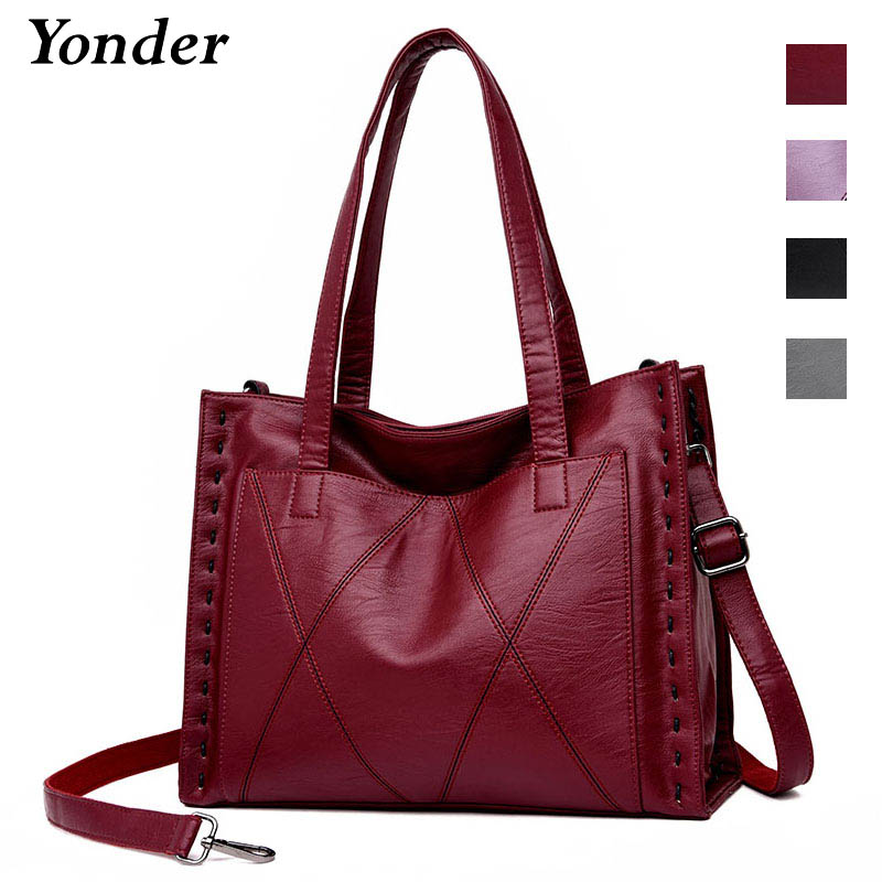 Yonder brand women genuine leather bag female shoulder bag with large capacity ladies handbag high quality sheepskin Tote bags kajie 2018 high quality brand bags fashion handbag genuine leather women large capacity tote bag big ladies shoulder bags