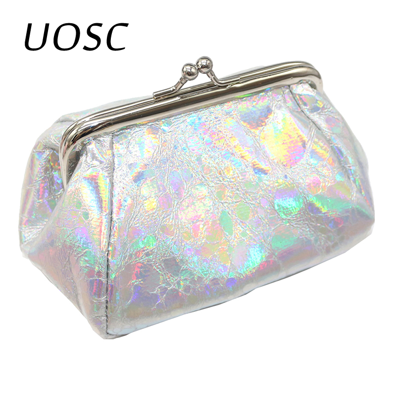 UOSC Women Coin Purse Genuine Leather Card Holder Laster Wallet Metal Frame Change Purse For Girls Original Small Coin Bag