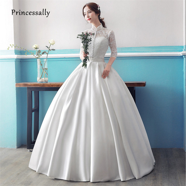 Princessally New Off White Wedding Gown Satin Lace Half Sleeve High ...