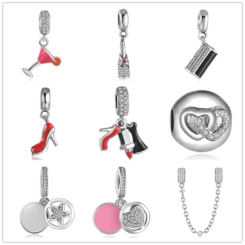 YANXIZAO 925 Silver High heels Heart Shape Love Fit Pandora Pulsera Charms Beads DIY Pulsera Joyería Regalo del día de madre