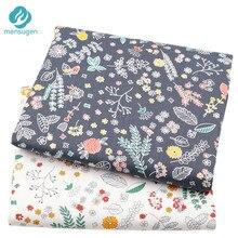 2 adet/grup gri beyaz çiçek baskılı % 100% pamuklu kumaş Patchwork yastık mektup çocuk kafa bandı bebek ayakkabı DIY karalama defteri kumaş