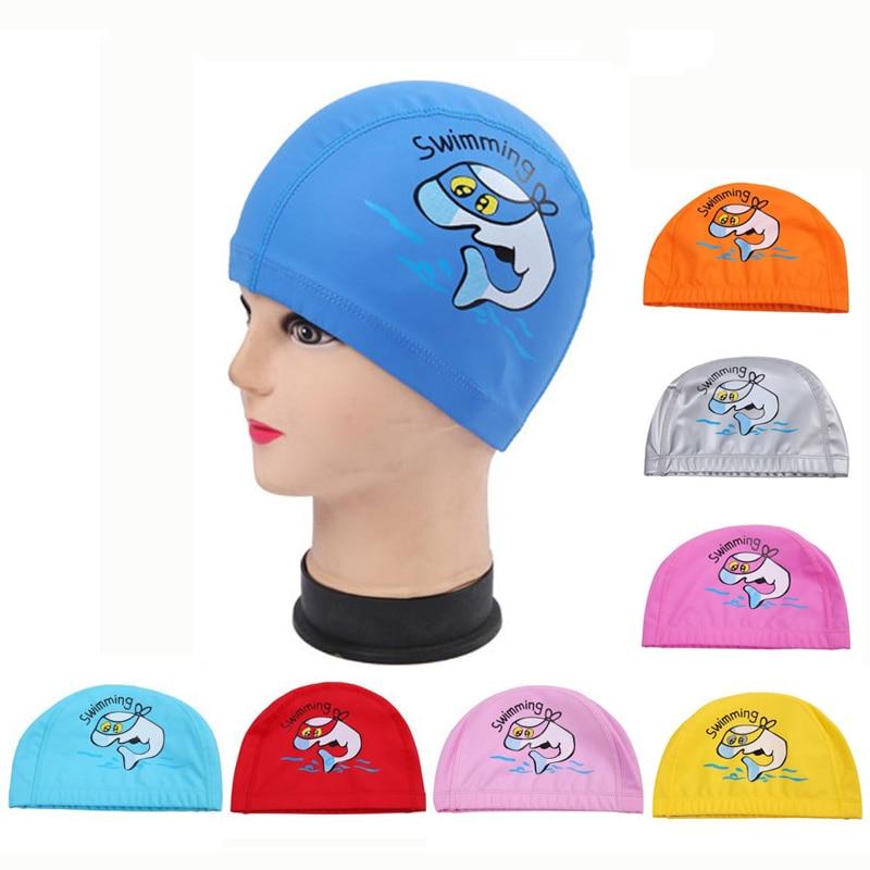 Rajzfilm delfin vízálló PU szövet hosszú haj fülvédelem Gyerekek úszni medence Víz Sport Úszósapka kalap fiúk lány