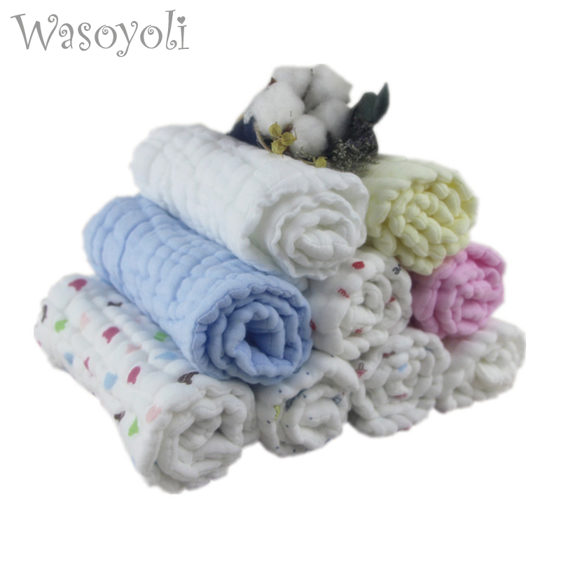 Wasoyoli 4 Peices / Lot 10 Layers Cloth Diaper Insert 17x46cm 100% Muslin Cotton Seersckuer Infant Burp Cloth Bathing Washing