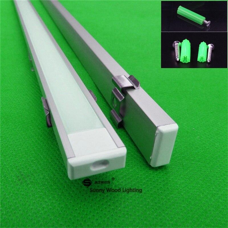 2-30 stks/partij, 0.5 m/stk, LED aluminium profiel voor 5050 5630 led strip, milky/transparant deksel voor 12mm pcb, tape licht behuizing