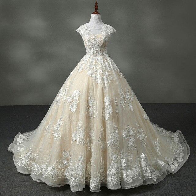 Vestidos De Novia Prinzessin Champagner Spitze Organza Ballkleid ...
