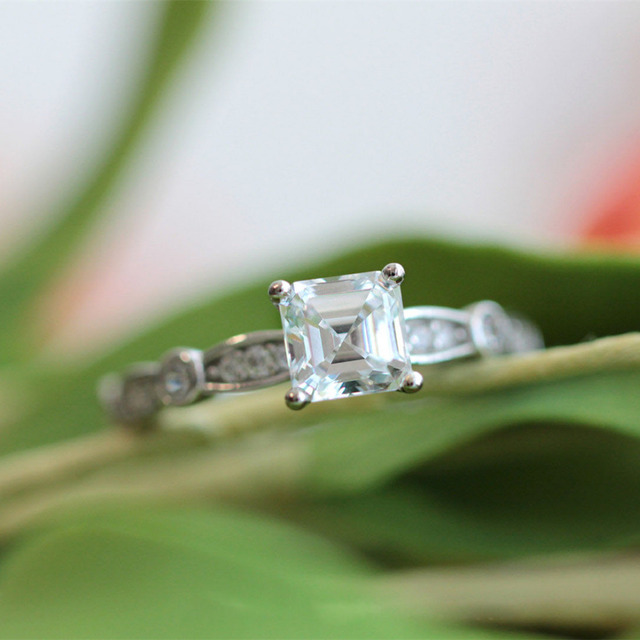 1CTW Simulated Diamond 925 Sterling Silver with Gold Wedding Engagement Ring