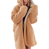 Women Casual Winter Hooded Thick Cardigan Coat Warm Faux Fur Reversible Soild Long Outwear with Pockets H3
