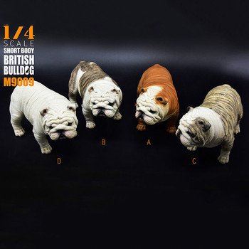 "1/4 Scale 1:4 Short Body Exaggerated British Bulldog M-9009 Model Toy Four Color Dog Puppy Pet Animal F 12"" Toys"