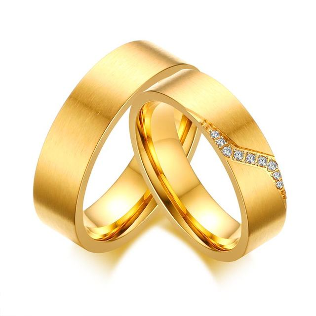 New Design Pattern Romantic Wedding Rings For Lover Gold Color